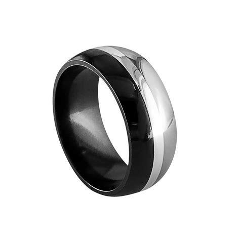Edward Mirell's Tuxedo ring. Black and Gray Titanium