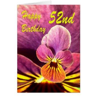 Happy 52nd Birthday Flower Pansy Card