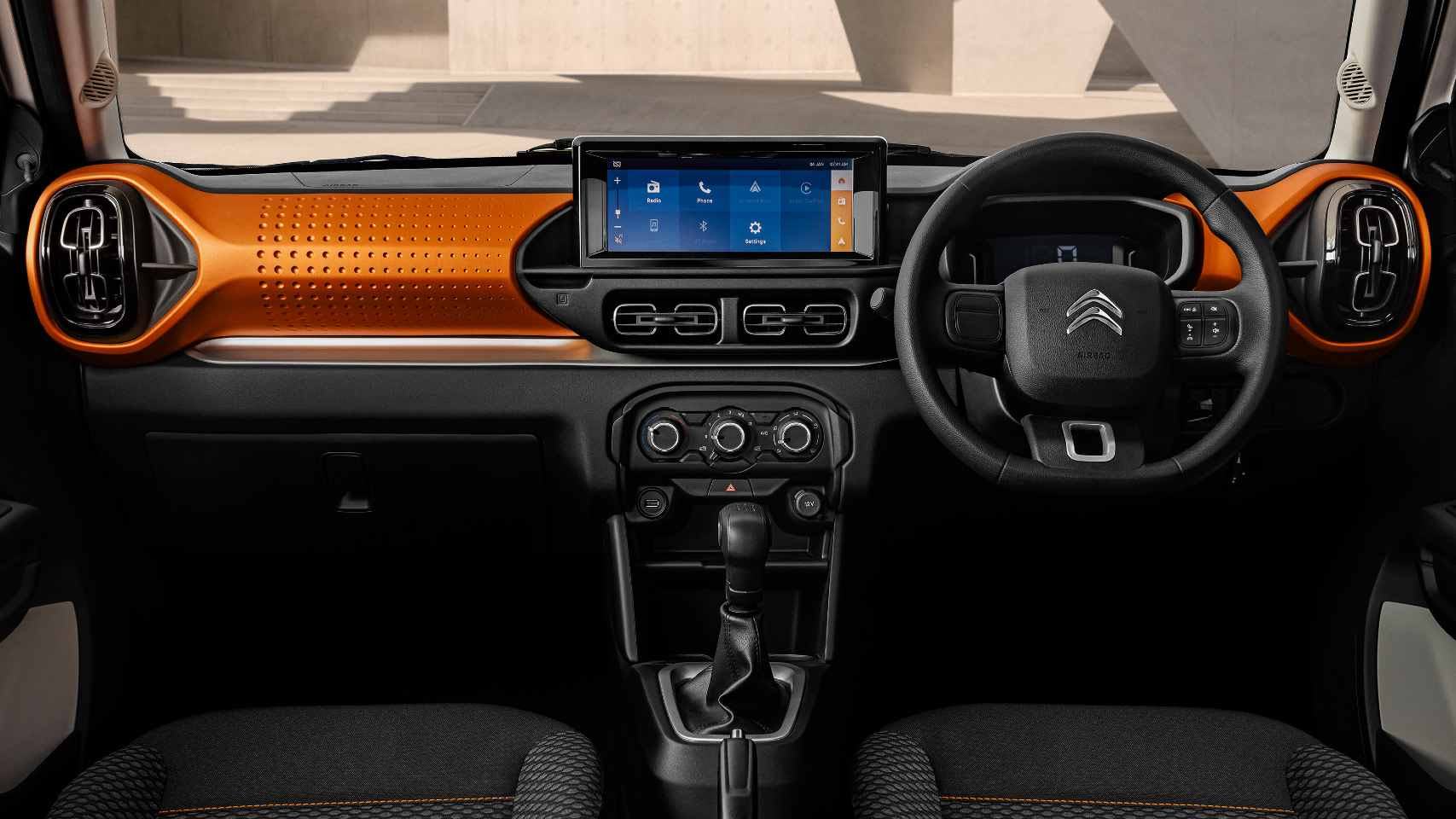 A 10-inch touchscreen takes centre stage on the dashboard of the C3. Image: Citroen