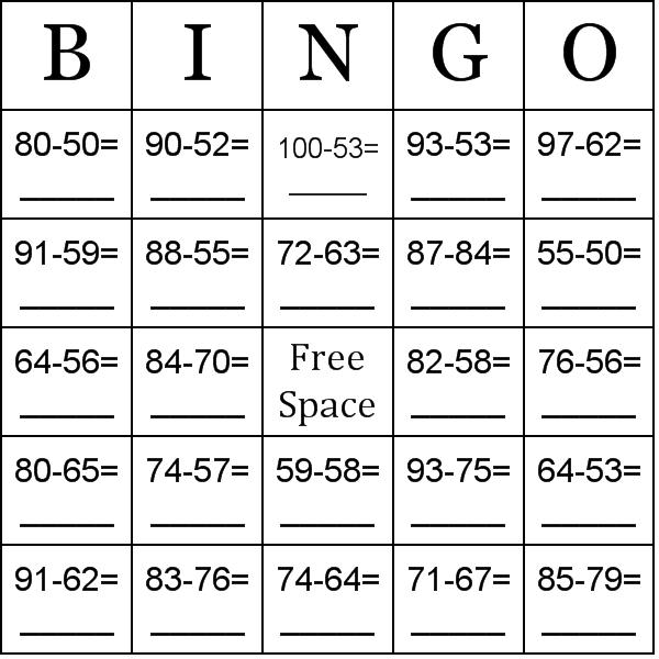Subtraction using numbers between 50-100 Bingo Cards