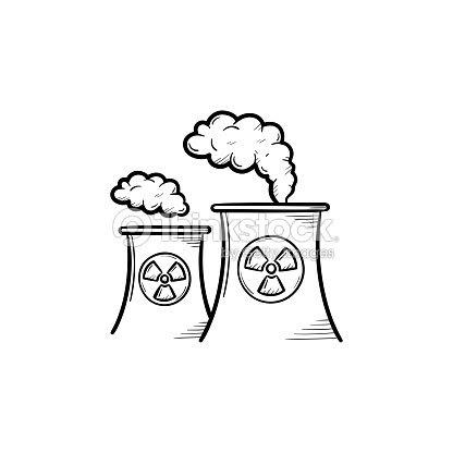 Icono De Esbozo Dibujado De Mano De Planta De Energía Nuclear Arte