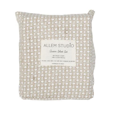 Honeycomb Navy Bed Sheets - Allem Studio