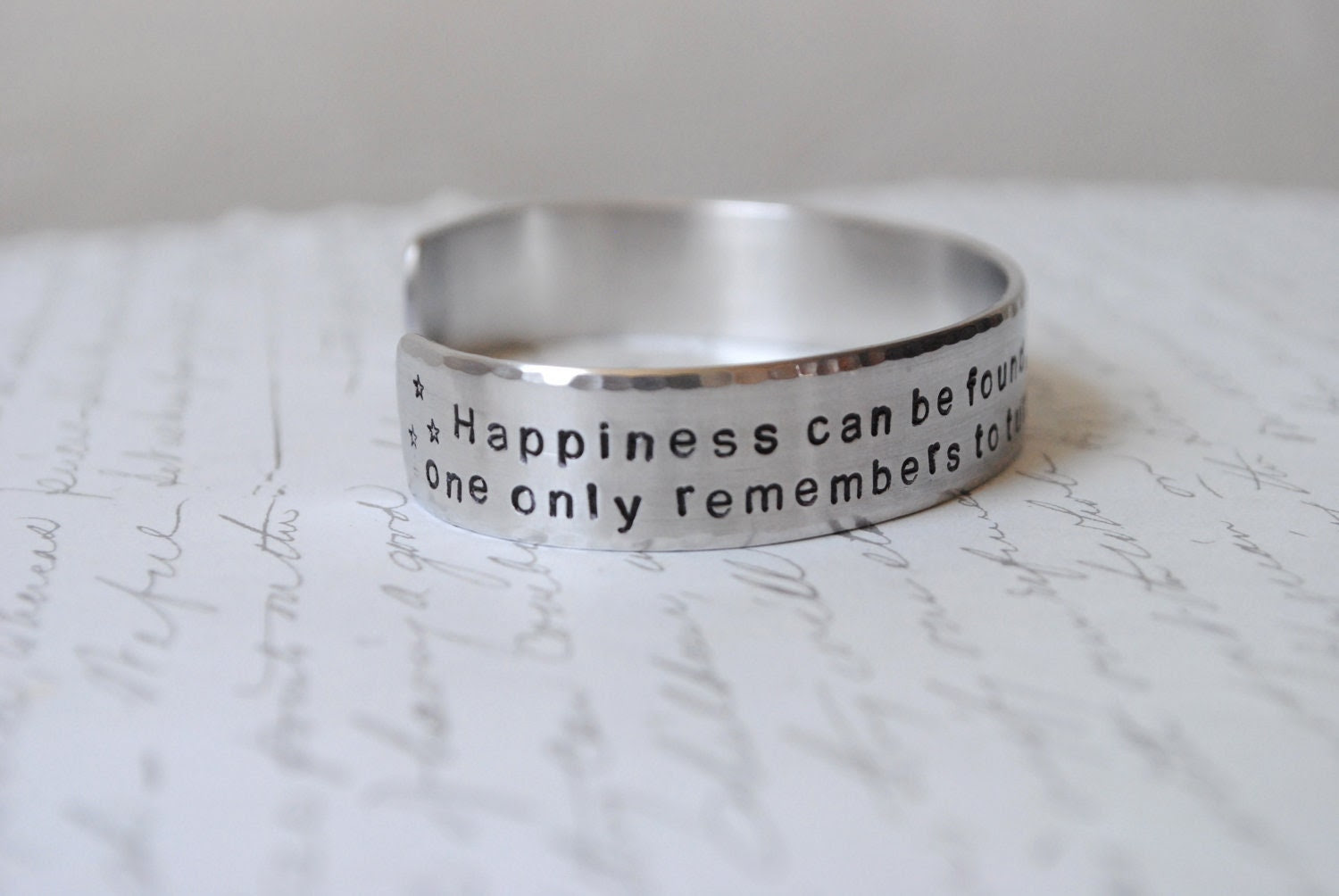Happiness can be found, even in the darkest of times Harry Potter Cuff Bracelet
