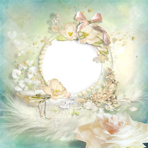 Beautiful Frame with Flowers Pearls and feathers   Hej