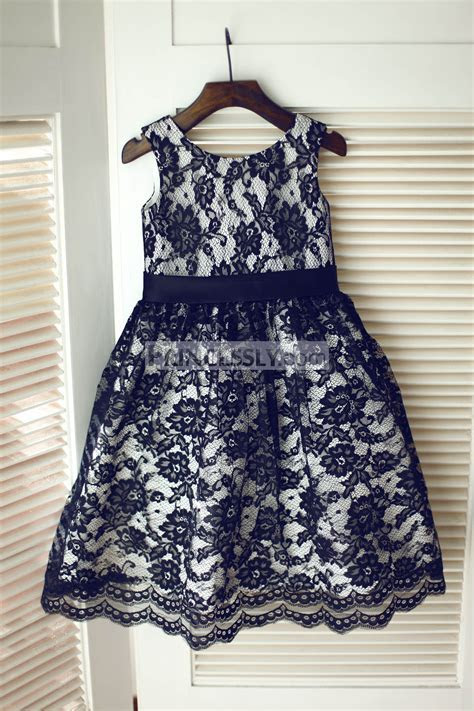 Black Lace Silver Lining Wedding Flower Girl Dress with