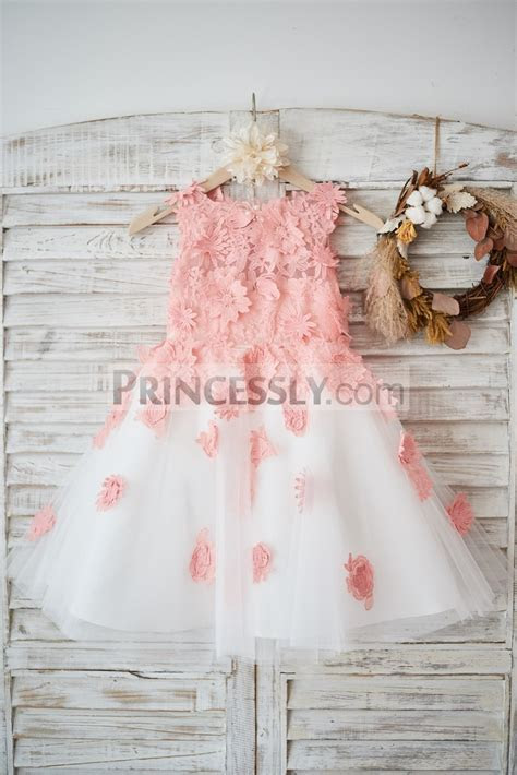 Ivory Tulle Peach Pink Lace Wedding Flower Girl Dress