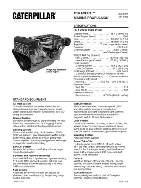 Cat C18 ACERT Spec Sheets - Commercial C18 ACERT marine