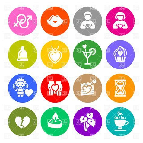 Valentine's day icons   love, romantic and dating symbols