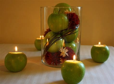 Unique and Simple Centerpieces ? Apple Candle Holders ? A