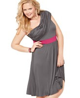 Soprano Plus Size Dress, One Shoulder Ruched Empire