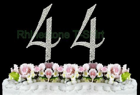 Large Rhinestone NUMBER (44) Cake Topper 44th Birthday