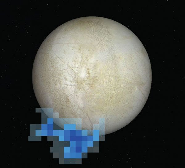 This image shows the location of water vapor detected over the south pole of Europa in observations taken by NASA's Hubble Space Telescope...in December of 2012.