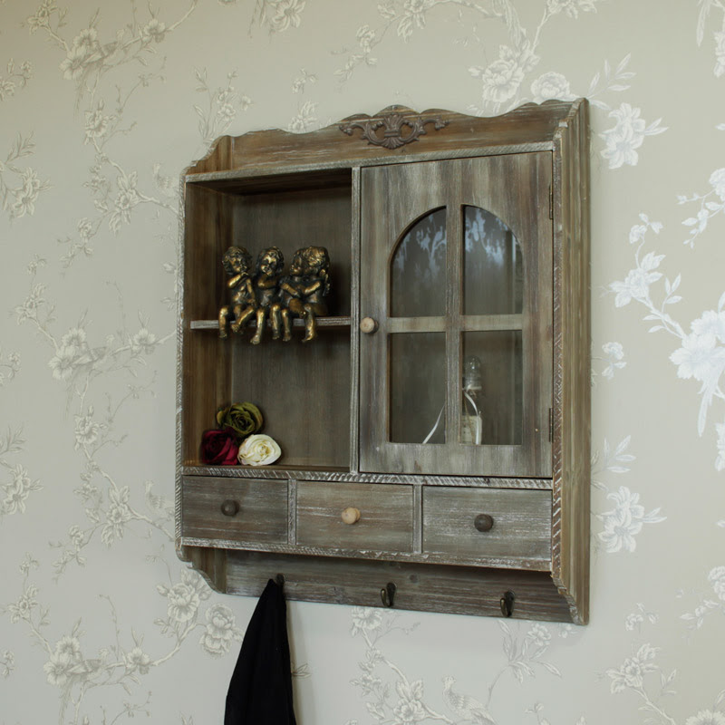 Heavy Distressed Wooden Wall Cabinet with Hooks - Melody ...