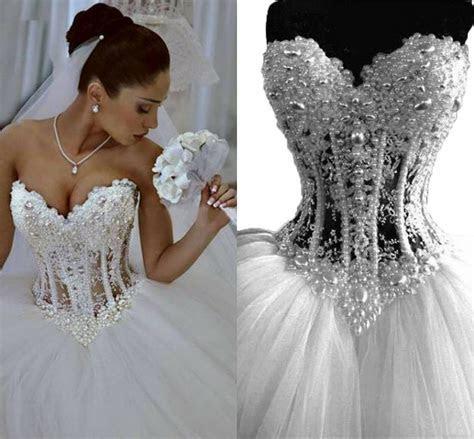 Vintage Wedding Dresses 2018 Sweetheart See Through Pearls
