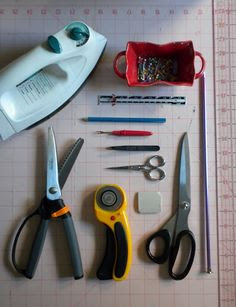essential sewing tools. just need some pinking sheers and a rotary cutter and im in good shape.