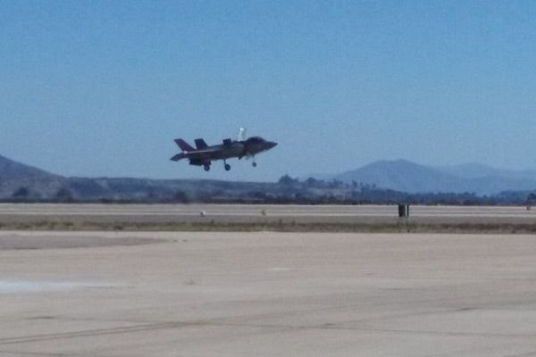 The F-35B Lightning II, a VTOL aircraft (Google that), hovers in for a landing after conducting an aerial demo at the Miramar Air Show...on September 24, 2016.