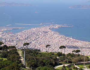 Trapani seen from Erice. The islands of Favign...