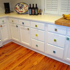 Beach Glass Tile Cabinet Knobs on Cabinets