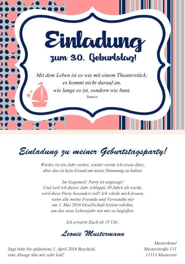 Maritime Einladungen Zum Geburtstag Einladungskarten Mit