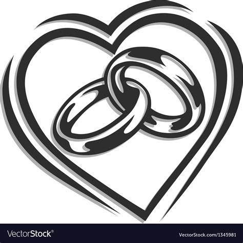 Wedding ring in heart Royalty Free Vector Image