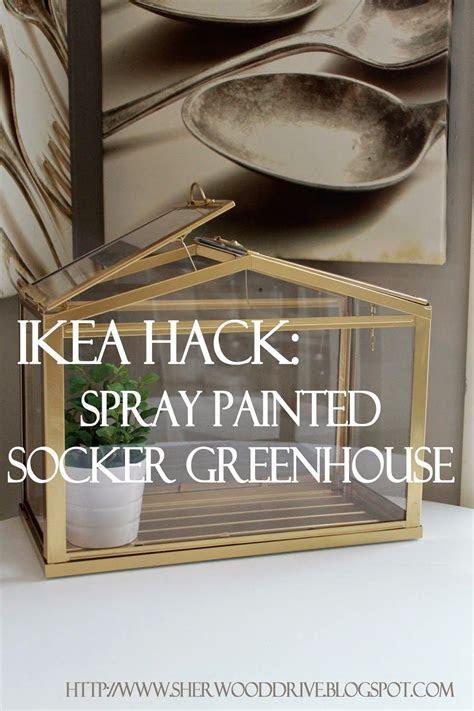 Spray painted SOCKER GREENHOUSE terrarium from IKEA