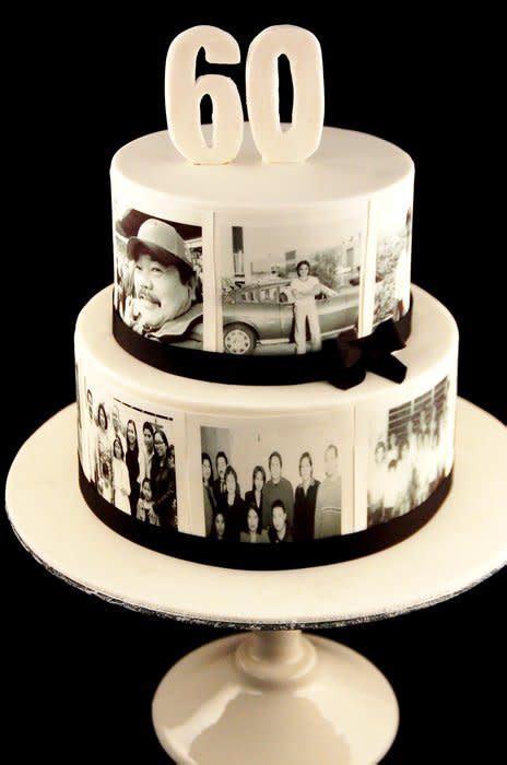 60th Birthday Cake   Photo Cake   cake by Zelicious