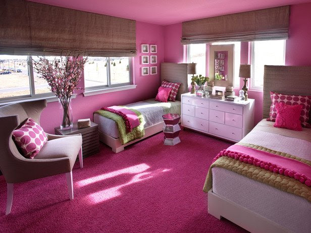 Sophisticated Girl's Room: Palette of Linen, Hot Pink and Green ...