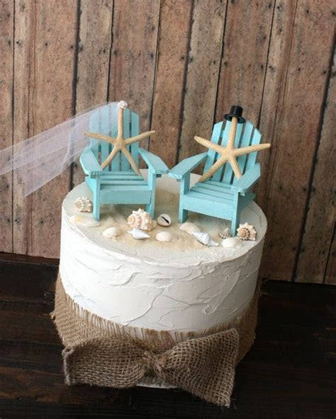 Something Blue Beach Wedding Cake Topper Miniature