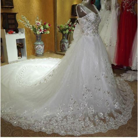 Luxurious Cathedral Train Crystal Wedding Dresses Tulle