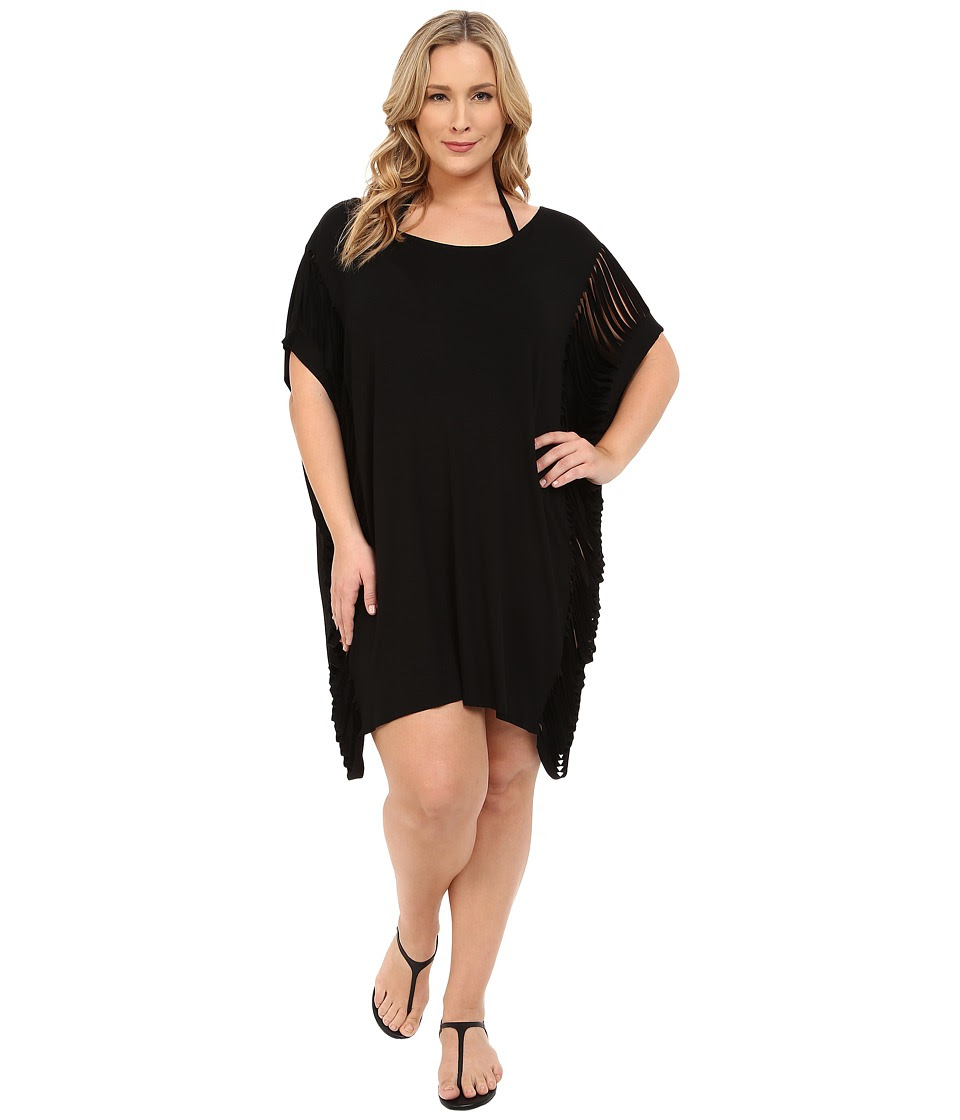 BECCA by Rebecca Virtue - Plus Size Becca ETC Twist Turns Dress Cover-Up (Black) Women's Swimwear