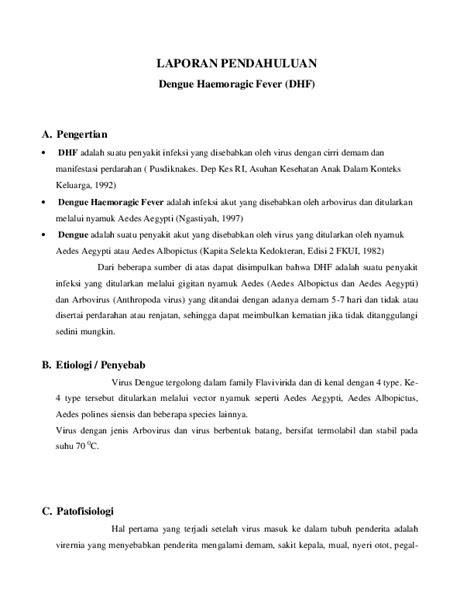 (DOC) LAPORAN PENDAHULUAN Dengue Haemoragic Fever (DHF