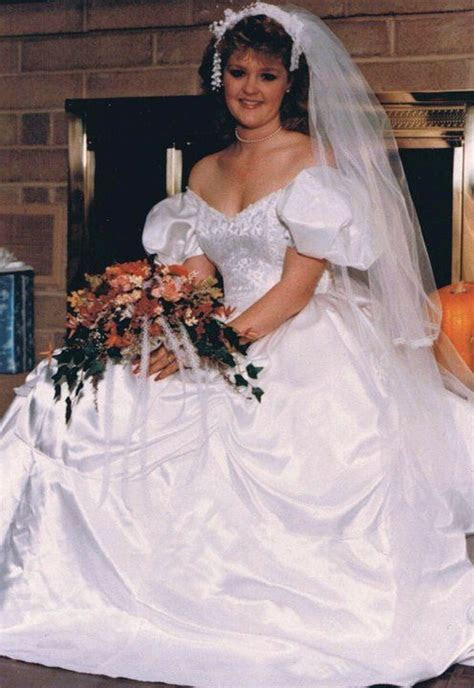 1985 wedding gown.. I love teh off the shoulder look