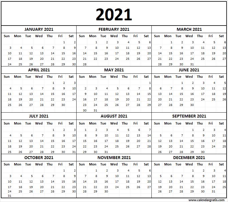 Large 2021 Calendar | Calendar 2021