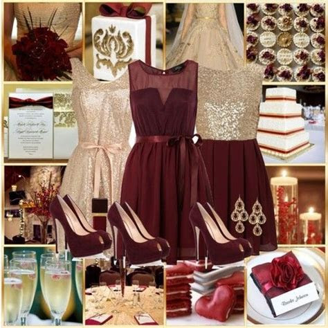 Burgundy, gold, and champagne colors for a wedding are