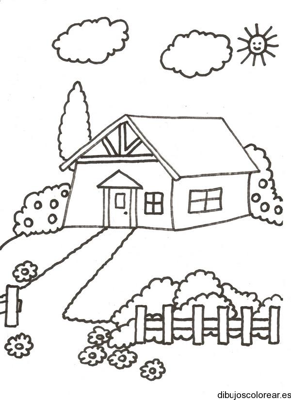 Dibujo De Una Casa Con Jardín