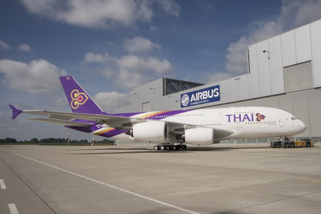 The first Thai Airways International (THAI) A380 rolled out of the Airbus paint shop during June 2012, marking completion of its painting and cabin installation work. Photo by Airbus.