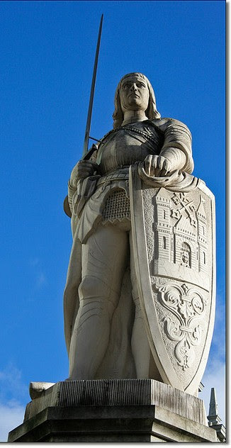 Roland de Roncevaux. The statue of Roland, is located in the centre of the town hall square in front of the House of Blackheads in Riga, Latvia. Photo by Patrick Mayon