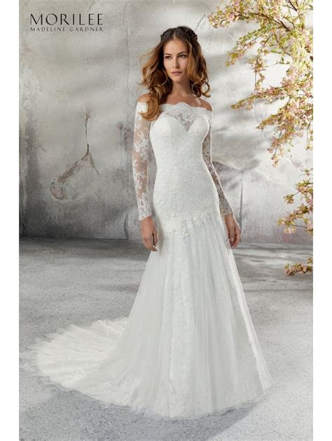 Mori Lee 5686 Lillian Long Lace Sleeve Wedding Dress Ivory