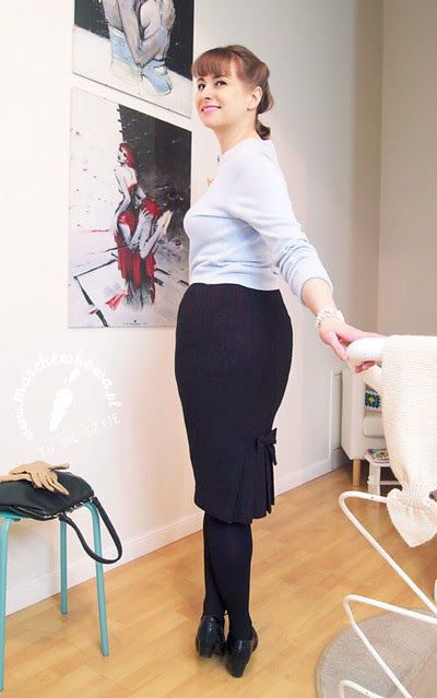 marchewkowa, szyciowy blog roku 2012, krawiectwo, szycie, moda, retro, vintage, wykrój, burda, pattern, sewing, 50s, pencil skirt