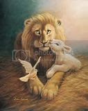 Lion and lamb clipart oil painting image.
