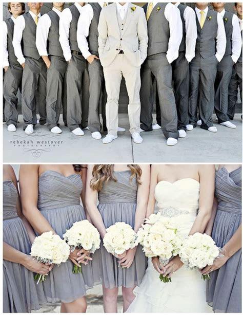 Guys in Gray Vera Wang Pants and Vest with plum tie. Groom