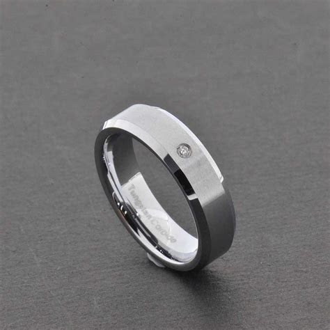 Tungsten Diamond Men Women Wedding Band Ring Black Silver