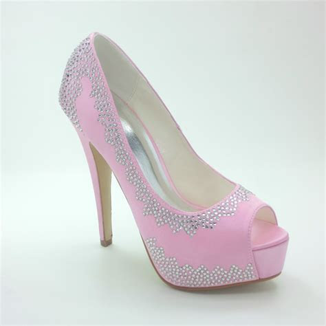 sparkly pink bridal shoes satin stilettos pumps