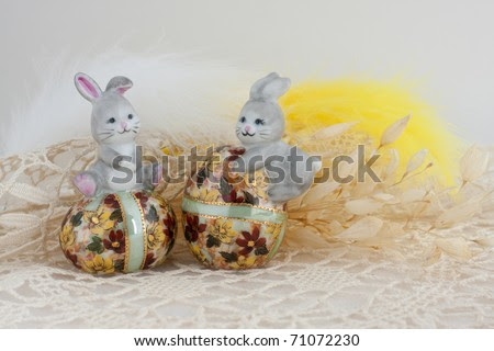 cute easter bunnies and chicks. stock photo : Cute Easter