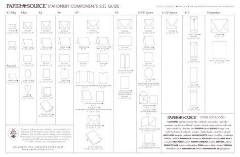 STATIONERY COMPONENTS SIZE GUIDE. Envelope/Card size chart