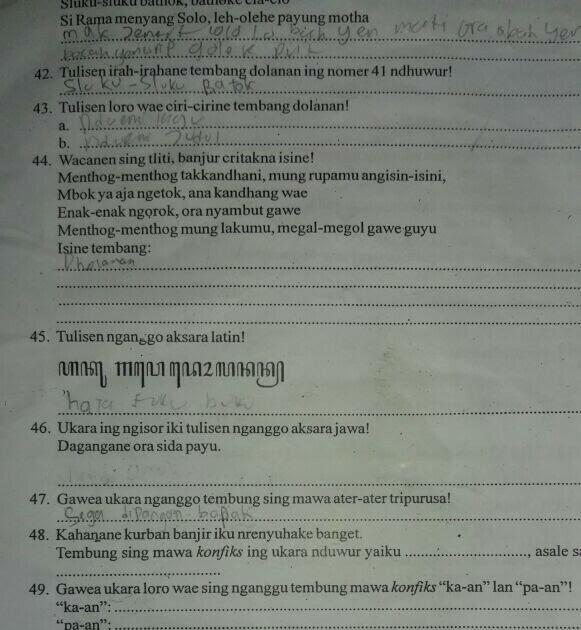 Kunci Jawaban Bahasa Jawa Kelas 5 Halaman 44 Revisi Sekolah