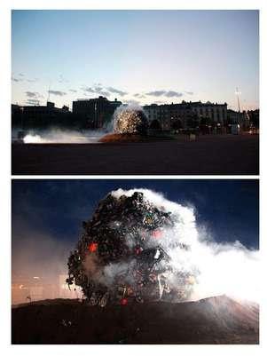 Toneladas de lixo caíram em forma de meteorito sobre Genebra para conscientizar a população Foto: EFE