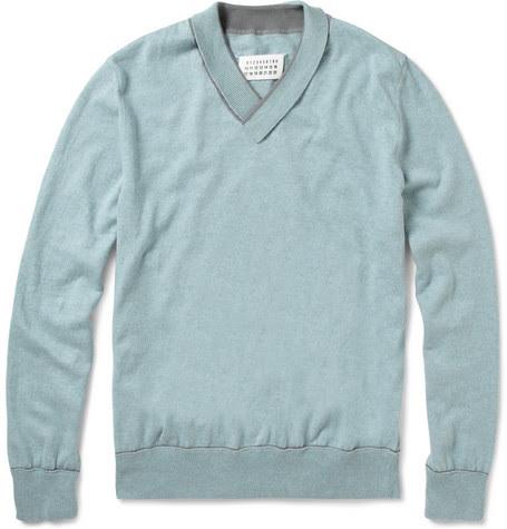 Maison Martin MargielaShawl-Collar Cotton Sweater