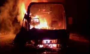 Volvo bus fire AP