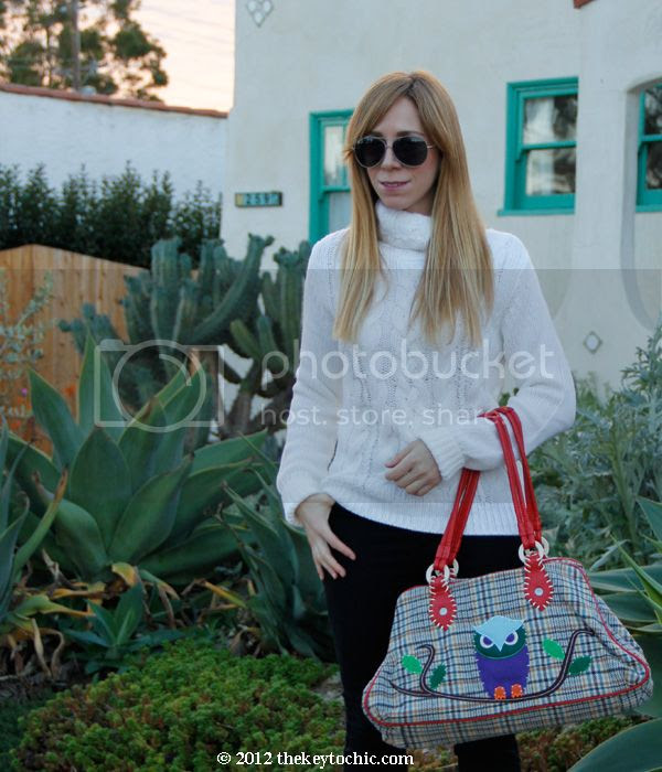 white cable knit turtleneck sweater, Cheap Monday skinny jeans, owl handbag, Los Angeles fashion blog